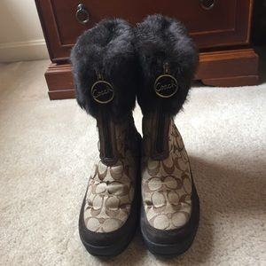 Coach Faith Winter Fur Trimmed Boots
